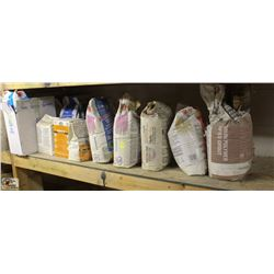 SHELF OF ASSORTED GROUTS