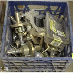 CRATE OF ASSORTED DOOR HANDLES  & SCREWS