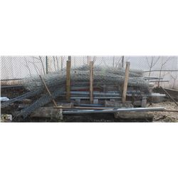 ASSORTED CHAIN LINK FENCE, POSTS & CHAIN