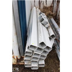 LOT OF 23 PIECES OF WHITE DOWNSPOUT W/ ELBOWS