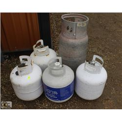 5 ASSORTED PROPANE TANKS