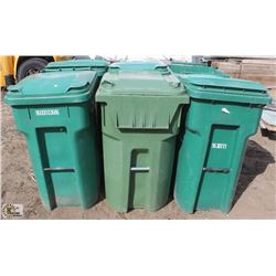 LOT OF 6 GREEN 96 GALLON ROLLING GARBAGE BINS
