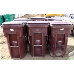 LOT OF 6 BURGUNDY 96 GALLON ROLLING GARBAGE BINS