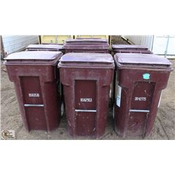 LOT OF 5 BURGUNDY 64 GALLON ROLLING GARBAGE BINS &