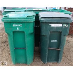 LOT OF 5 BURGUNDY 96 GALLON ROLLING GARBAGE BINS