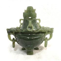 19GFE-35 CARVED GREEN JADE INCENSE BURNER