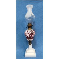 19GFE-44 VICTORIAN GLASS OIL LAMP