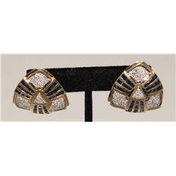19MSE-36 SAPPHIRE  DIAMOND EARRINGS