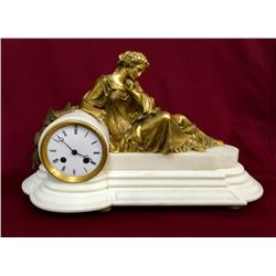 19GFE-51 FRENCH BRONZE GOLD GILT MARBLE CLOCK