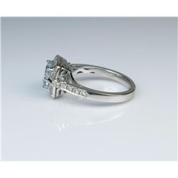 19CAI-58 AQUAMARINE  DIAMOND RING