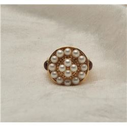 19RPS-6 PEARL  RUBY CABOCHON RING