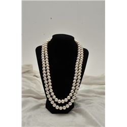 19RPS-13 DOUBLE STRAND WHITE PEARL NECKLACE