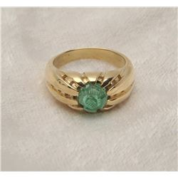19RPS-33 MANS EMERALD CABOCHON RING