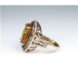 19CAI-48 CITRINE  DIAMOND RING