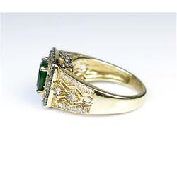 19CAI-34 LEVIAN TSAVORITE GARNET  DIAMOND RING