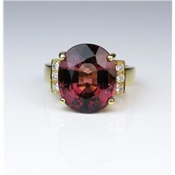 19CAI-46 PINK TOURMALINE  DIAMOND RING