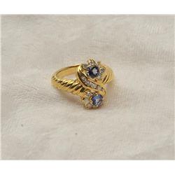 19RPS-10 MONTANA SAPPHIRE  DIAMOND RING