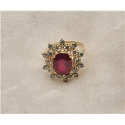 19RPS-50 RUBY  DIAMOND RING