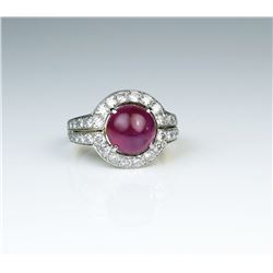 19CAI-6 BURMESE RUBY  DIAMOND RING