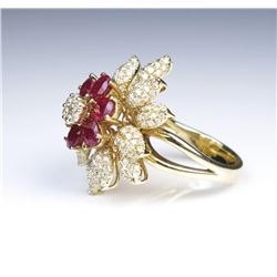 19CAI-28 RUBY  DIAMOND RING