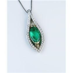 19CAI-9 NAT.COLUMBIAN EMERALD  DIAMOND PENDANT