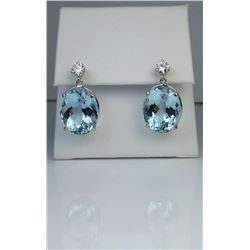 19CAI-10 AQUAMARINE  DIAMOND EARRINGS