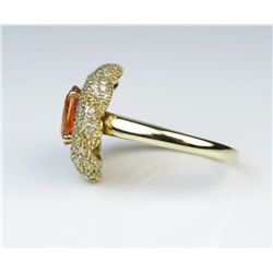 19CAI-14 ORANGE SAPPHIRE  DIAMOND RING