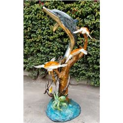 19GFE-95 LARGE BRONZE OF DOLPHIN/TURTLES