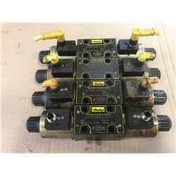 (4) PARKER HYDRAULIC SOLENOID VALVES * SEE PICS FOR #'s *