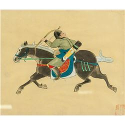 Chinese Watercolor Warrior on Canvas Framed