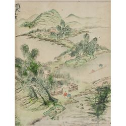 Chinese Watercolor on Paper Framed Landscape