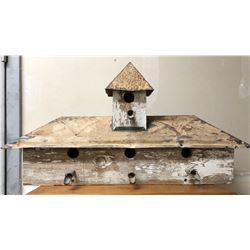 TIN & WOOD BIRD HOUSE WITH ANITQUE SAP SPILE