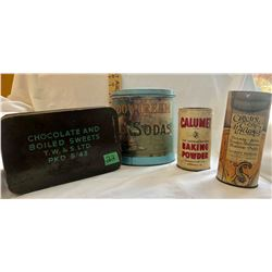 GR OF 4 TINS, MEADOW CREAM SODAS, CALUMET BAKING POWDER, CIRCUS CLUB MALLOWS - 1943