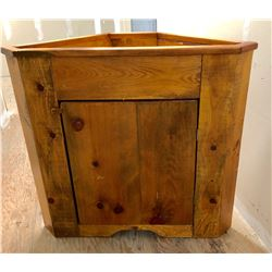 "PINE CORNER CABINET WITH UPPER BOXED IN PLANTER - 40"" H x 37"" W x 18"" D"