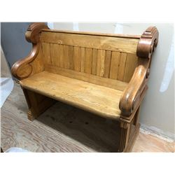 "OAK CHURCH PEW - 35"" L x 20"" D"