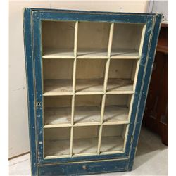 "DISTRESSED BLUE PAINTED SHELF WITH GLASS FRONT - 42"" H x 28"" W x 9"" D"
