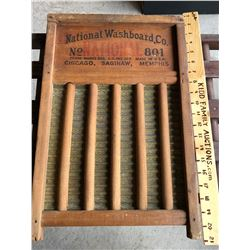 NATIONAL WASHBOARD CO. MADE OF TIN WITH WOOD DOWELS