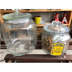 GR OF 2 PLANTERS PEANUT COUNTER TOP DISPLAY JARS