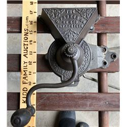 C PARKER MODEL #460 CAST WALL MOUNT COFFEE GRINDER, PATENT 1876