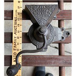 C PARKER MODEL #460 CAST WALL MOUNT COFFEE GRINDER, PATENT 1876