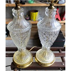 PAIR OF VINTAGE CUT GLASS LAMPS