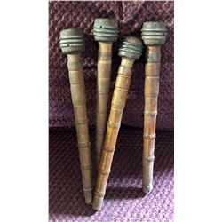 GR OF 4 ANTIQUE WOOD BOBBINS