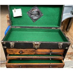 ANTIQUE MACHINIST'S TOOL CHEST WITH METAL EXTERIOR
