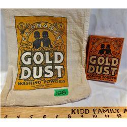 GR OF 2, FAIRBANK'S GOLD DUST WASHING POWDER SACK & FULL BOX