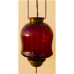 ANTIQUE BRASS & CRANBERRY GLASS HANGING LAMP