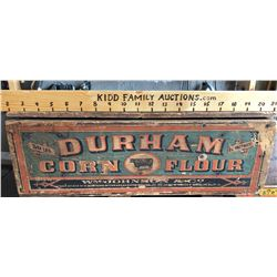 WM JOHNSON & CO. DURHAM CORN FLOUR COVERED CRATE WITH ORIGINAL DECAL - MONTREAL