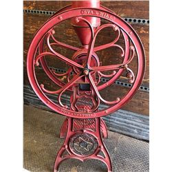 STAR MILL ANTIQUE COFFEE GRINDER - DOUBLE WHEELED CAST WITH HOPPER - APPROX 5' - PATENT 1884