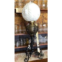 ANTIQUE BANQUET LAMP, BRASS & GLASS.