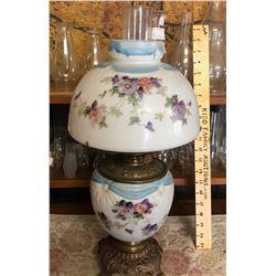 ANTIQUE BANQUET LAMP, BRASS & HAND PAINTED GLASS.