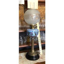 ANTIQUE BANQUET LAMP, BRASS & PAINTED GLASS.